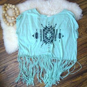 maitai- M/L- Aztec Print Crop Tee - Fringe Bottom